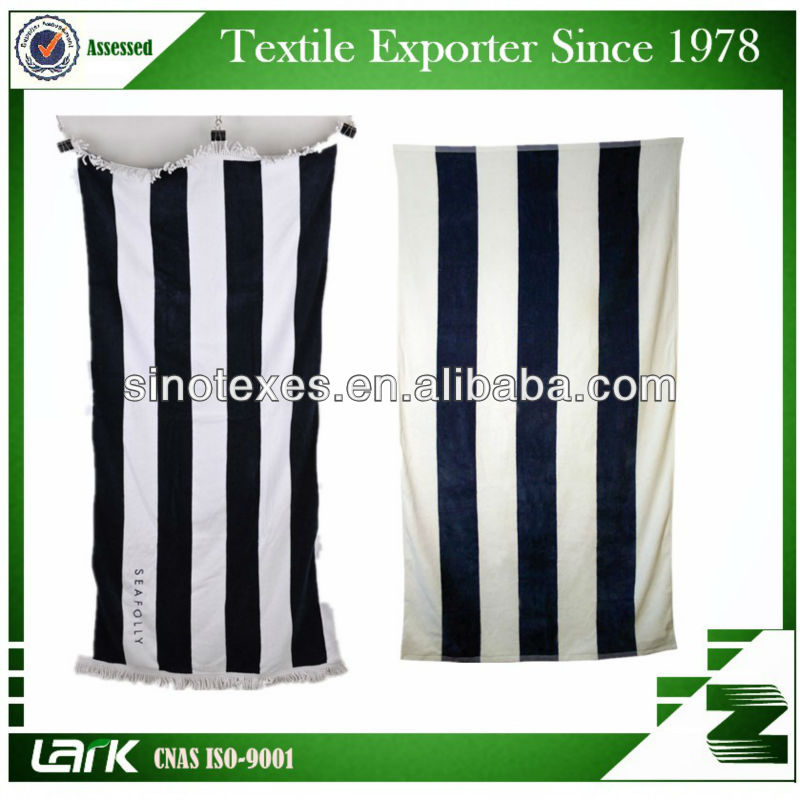 High quality 100% Cotton Yarn dyed Stripped Bath Towel, bule and white/ black and white/brown and white