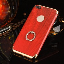 For Iphone 7 Wood Grain Ring Kickstand Phone cover 3 in 1 Removable Hard Plastic cover for iPhone 7 plus