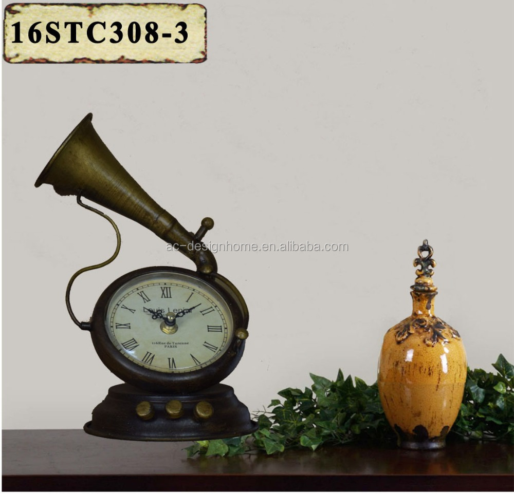 VINTAGE ANTIQUE DECORATIVE COPPER METAL PHONOGRAPH SHAPE TABLE TOP CLOCK
