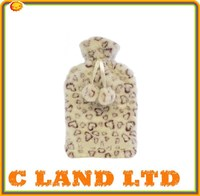 new fashion animal print hot water bottle plush faux fleece cover