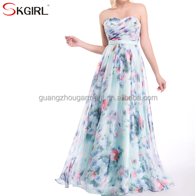 Princess printed flower floral chiffon long bridesmaid formal evening dresses for wedding party