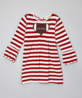Fashion Red And White Girls Stripe Dress Casual Kids Wear Z-GD80812-9