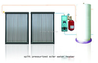 Split pressurized solar water heater with vacuum tube solar collector and dual coil cylinder