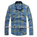 Mens indigo color cotton shirt casual shirt fashion heavy cotton style plaid flannel shirt