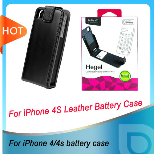 Emergency battery charger with Genuine Leather for iPhone 4/4s
