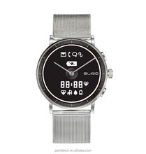 E-ink display smart watch with easy to replace mesh watch band or genuine leather strap