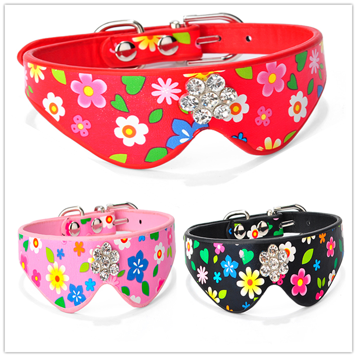 Durable Scarf Beautiful Flowers Pink Dog Collar