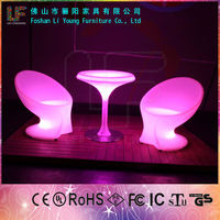 CE Certificate Plastic Fashional Remote Control Nightclub Table and chair Outdoor illuminated Led bar furniture