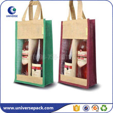 Custom Made Jute Tote Wine Bag With Pvc Window For Gift