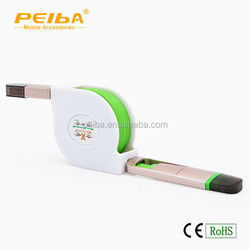 Wholesale Fast Shipping 2 in 1 Retractable USB Data Cable Colorful Noodle USB Data Line