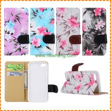 Stand Flip Leather Wallet Case Cover Card Slot FLOWER printed Pattern flip case For iphone 7 6 PLUS iPhone 4 5 5C 6 6Plus
