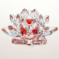 Crystal 100MM Red Lotus Flower Prism Healing Energy Feng Shui Gifts MH-H0091