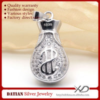 XD P787 Chinese Purse 925 Sterling Silver Jewelry Charms with CZ Pave