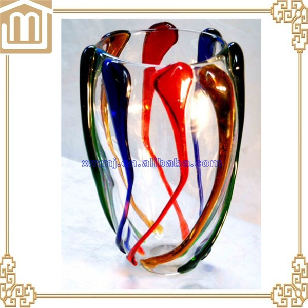 Modern creative design hand brown colored murano glass jar vases