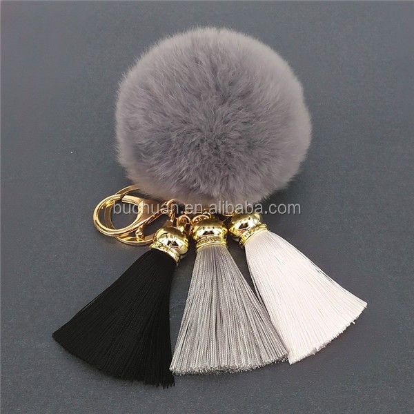 large fur pom pom with keychain