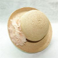 Lady's Raffia Straw Small Curling Hat with Decorative Flower