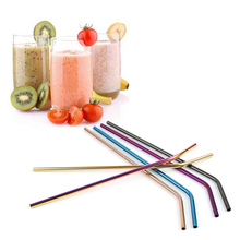 Reusable Food Grade Stainless Steel Straws, rainbow/black/gold/rose gold/blue color straws