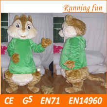 High quality cartoon character alvin chipmunks mascot costume for adults