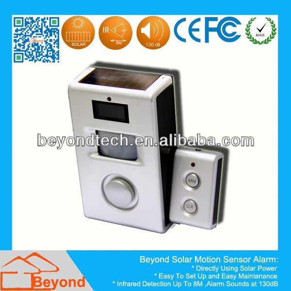 Solar Powered Door Entry Alarm /Chime Solar Motion Alarm with Remote Control,Solar Panel
