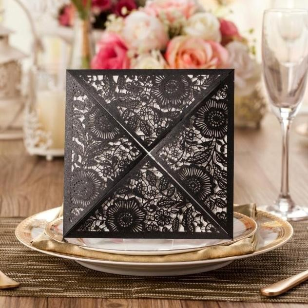 2016 unique luxury Wedding Invitation box / Laser Cut Greeting Card blank insert CW520_BL