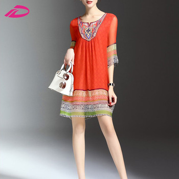 2017 new hot sale fashion Summer printing v-neck design women dress
