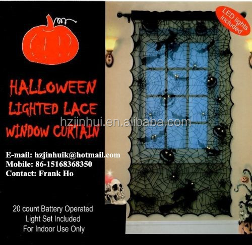 Halloween and christmas black bat spider web pumpkin lantern lace Lighted window curtains with 20 LED LIGHTS