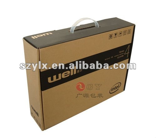 Ecofriendly sturdy color corrugated box with handle offset printing