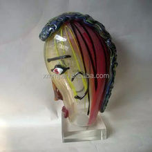 Modern Hand made blown solid murano type Picasso theme art deco figurines made of glass