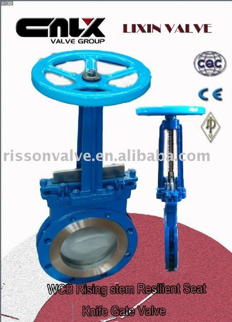 WCB Rising Stem Resilient Seat Knife Gate Valve