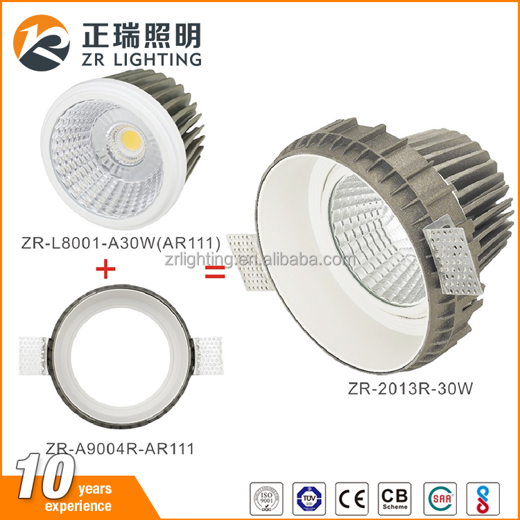 BIS approved 7W 12W 30W commercial recessed cob trimless led downlight