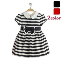 baby girl party dress children frocks designs bow black white stripe dress for girls princess neck style wholesale frock