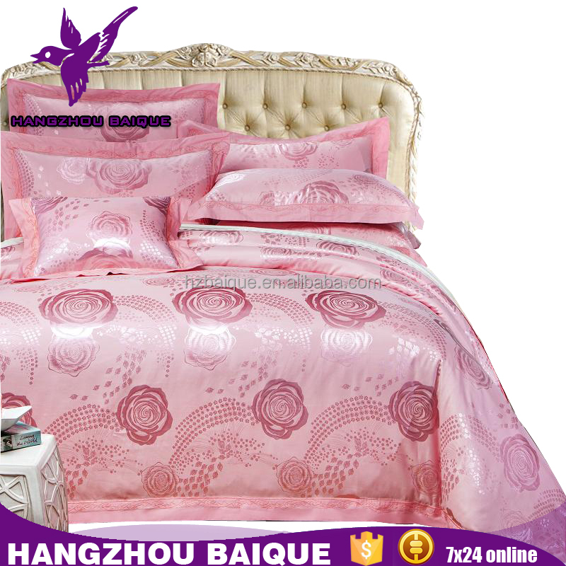 Luxury Wedding Pink Rose Bedding Sets Zhejiang