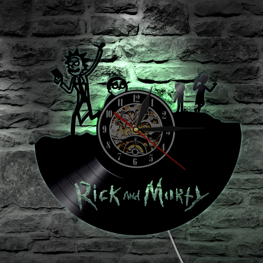 Rick and Morty Vinyl Record LED Wall Clock With LED Light Handmade 3D Clock Creative Decoative Clock For Kids