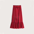 Long Ruffled Skirt With Lace-up New Design Skirt