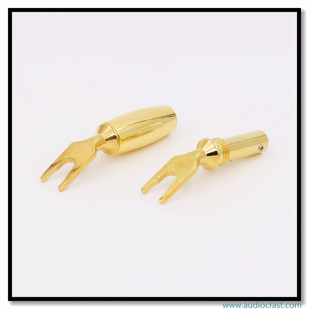 High Performance Pure Red Copper Spade Plug Gold Plated Spade Fork Banana Plug Screw Locking Banana Connector