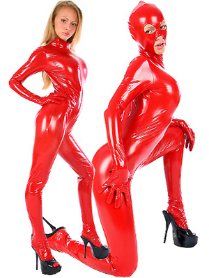 MOON BUNNY Red Metallic Catwoman Catsuit wholesale MOQ 1set