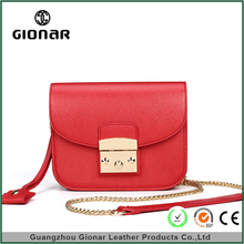 Taobao China Guangzhou Gionar Elegant Design Women Plain Red Pu Leather Shoulder Secret Bags
