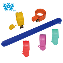 Custom Silicone Slap Bracelet Wrist Band Wristband USB Stick Drives Usb Flash Memory Pen Drive with 2 year warranty