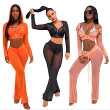X63595A Night Club 2 Pieces Women Suit Long Sleeve Crop Top Long Pants Set For Women