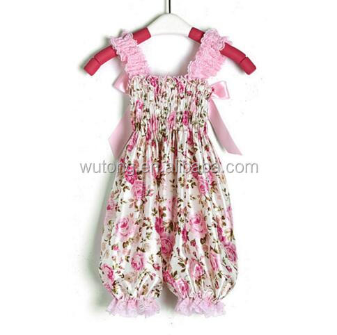 Lovely Baby Girls Pink Lace Ruffle And Bow Girl Floral Printed Rompers Newborn Princess Girl Toddler Baby Boutique Clothes