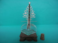 100ml mongolian yurt shape aroma reed diffuser clear glass bottle with wooden christmas tree spread stick
