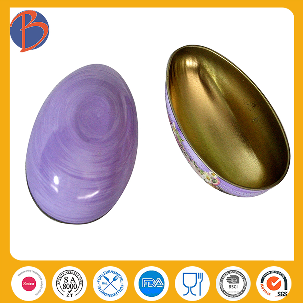 Popular decorative large round egg tin box egg shape Tin Box For Candy and Gift