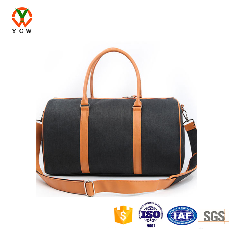 Low price popular canvas leather packing duffle bag canvas