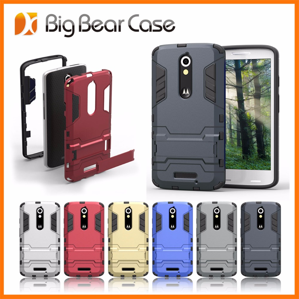 Factory kickstand bumper case for motorola moto x force droid turbo 2