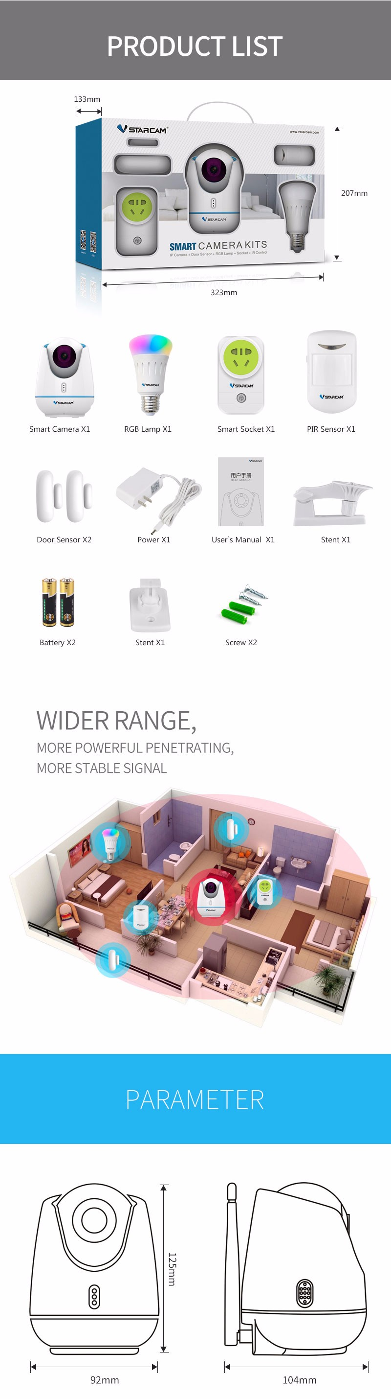 2017 VStarcam innovative Smart home system zigbee wifi home security ip camera