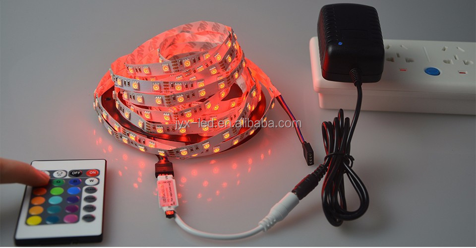 Christmas or display multicolor 12volt 5050 flexible led light strips 60leds/m double PCB and 3chips led strip light
