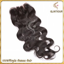Direct from factory body wave Malaysian virgin hair top quality 3 way part closure