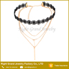 Fashion set lace choker necklace with metal gold chain