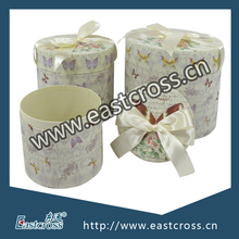 Round Storage Nested Gift Paper Box Set of Three With Bowknot