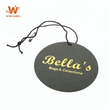 Whole Sale Customized Black Card Gold Foil Hot Sell Recycled Printed Hang Paper Tags for Garments